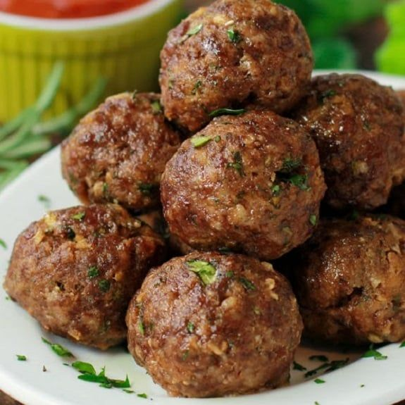 Oven cooked meatballs. Beef and pork meatballs cooked in halogen (turbo) oven.