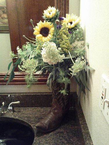 Cowboy boot with flowers for the bathroom