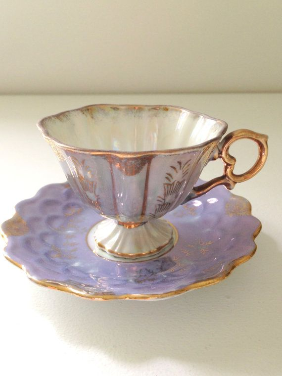 Vintage Pedestal Opalescent Demitasse Tea Cup and Saucer Lilac Unmarked Victorian Tea Party