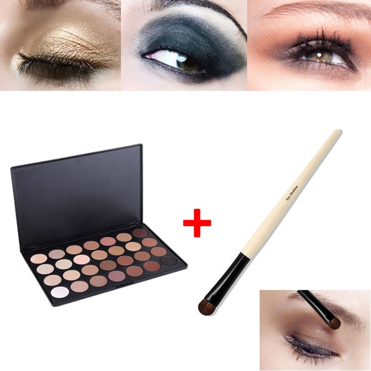 28 Color Neutral Warm Eyeshadow Palette Shadow Make Up Kit + Eye Foundation Blending Brush