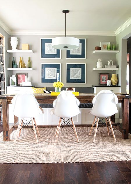 Rustic Mid Century Dining Space With Bright Pops Of Color | Built In Bench  W/