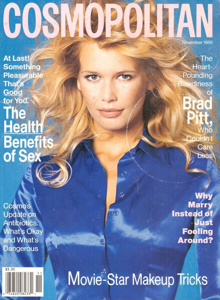 1995 Cosmopolitan Magazine Claudia Schiffer Brad Pitt Faye Dunaway Lingerie 90s #Cosmopolitan