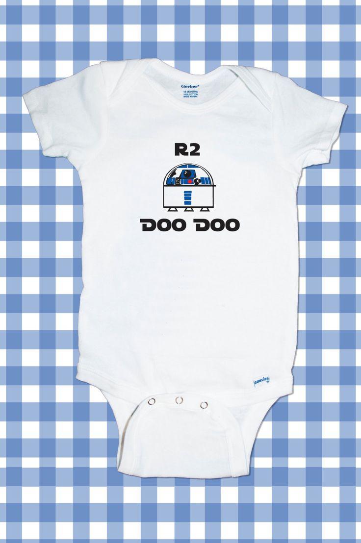 Adorable Star Wars R2R2 Darth Vader Stormtrooper Yoda Jedi One-Piece Newborn Funny Custom T-Shirt Baby Boy Bodysuit onesie Creeper Romper. $11.99, via Etsy.