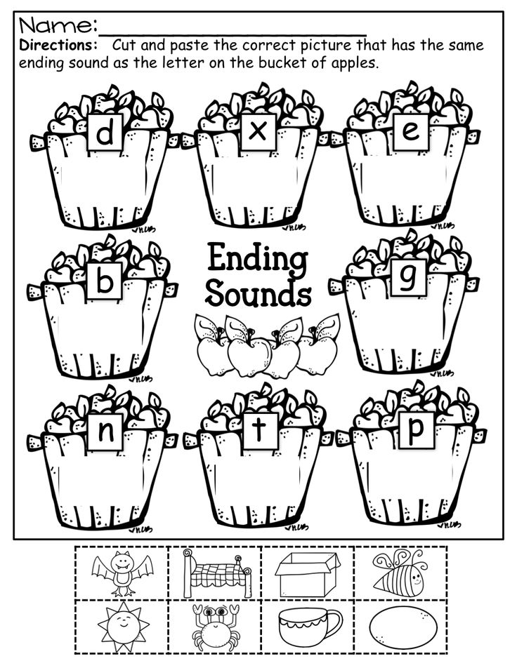 Ending sounds color cut and paste fall kindergarten math ending