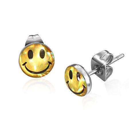 Kerst kado , Smiley oorknopjes staal - Gouden smiley