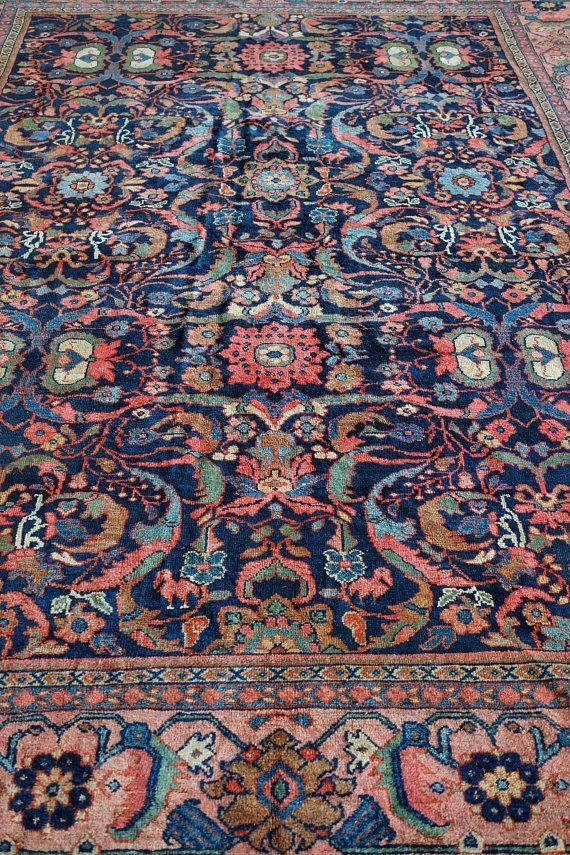 Persian Rug Room Size Rug Vintage Rug Antique Rug Navy And Blush Rug Navy And Pink Rug Persian Mahal Persian 9x12 Rug 9x12 Rugs L Pink Rug Blush Rug Fluffy Rug