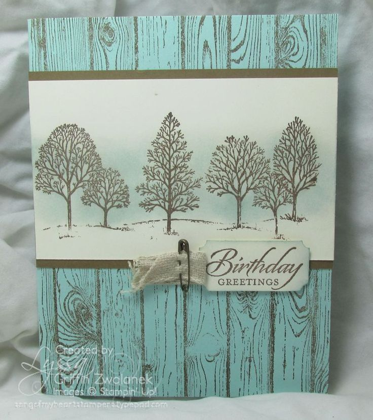 """By Lyssa Griffin Zwolanek. Stamp """"Hardwood"""" (Stampin' Up) in Soft Suede ink on Pool Party card front. On white panel, stamp trees from """"Lovely as a Tree"""" (Stampin' Up) in Soft Suede & sponge with Pool Party. Mount on Soft Suede mat. Add sentiment."""