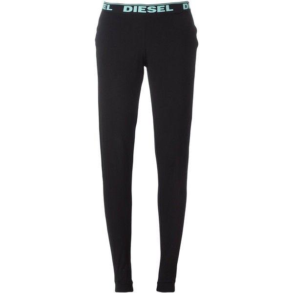 Diesel logo print leggings ($36) ❤ liked on Polyvore featuring pants, leggings, black, diesel trousers, diesel pants and legging pants