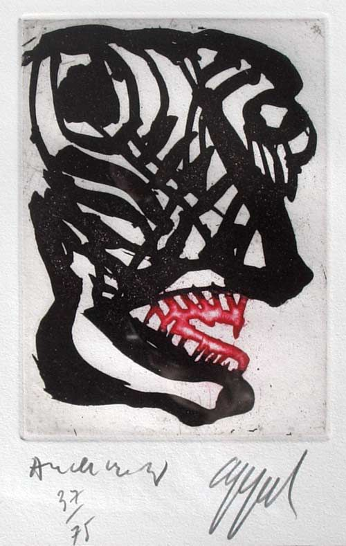 Karel Appel (1921-2006) and Pierre Alechinsky (1927-) color etching.