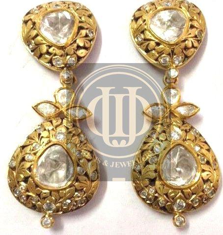 Diamond Polki earrings...www.divinejewellery.net