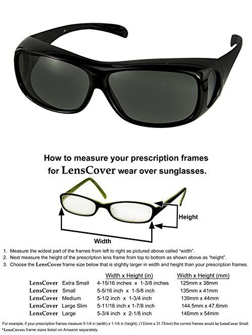 a4e3f6c35c40 LensCovers Wear Over Sunglasses for Men and Women. Size Large Slim Black  Polarized!
