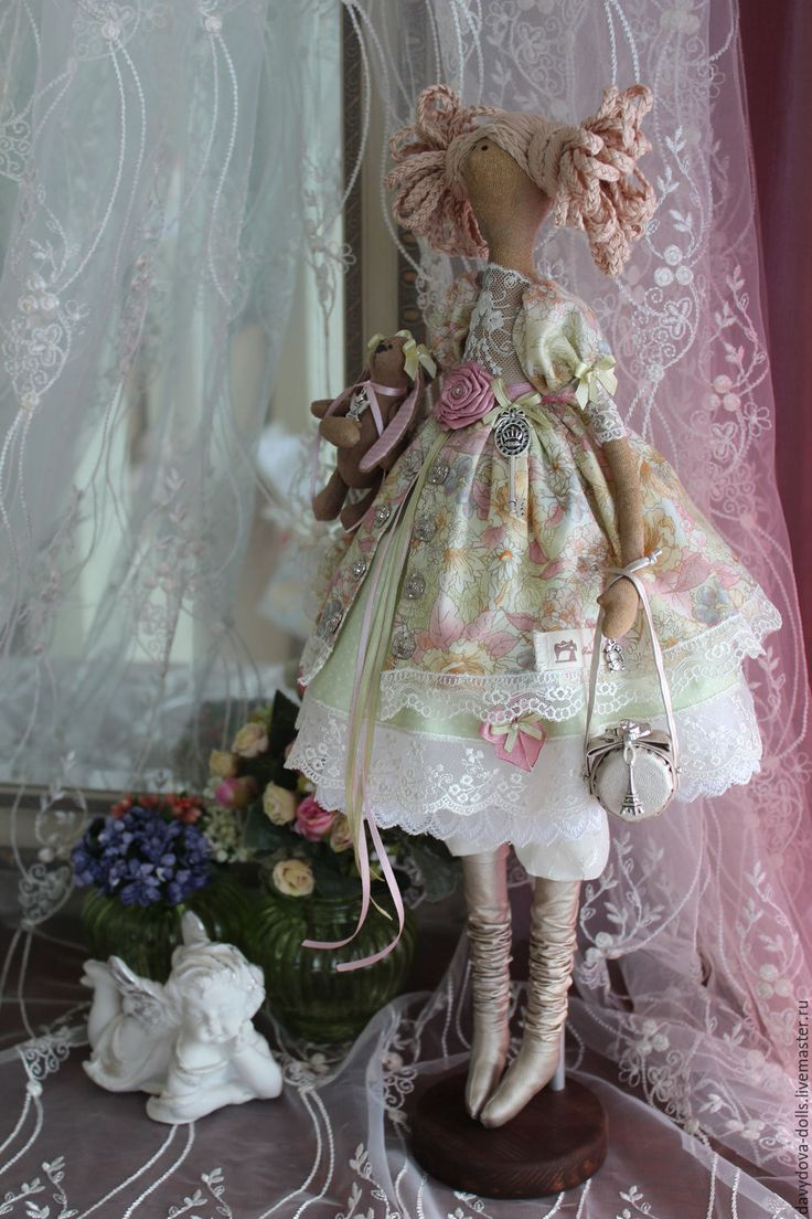"""Купить кукла тильда """"Анжелика"""" - салатовый, тильда кукла, принцесса, весеннее настроение, зайчик, сумочка"""
