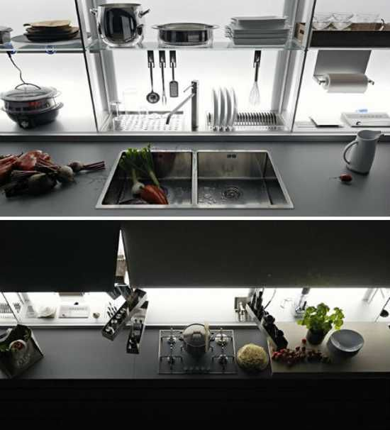 New Italian kitchen design offers comfortable contemporary kitchen storage, perfect for organizing everything you need in a kitchen. Beautiful look add charm to convenient kitchen shelves that allow personalize and declutter kitchen design, creating attractive contemporary kitchen interiors with app