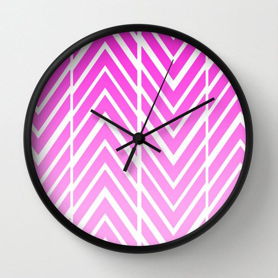 Wall Clock  Pink Arrows  ZigZag Pink and by ShelleysCrochetOle