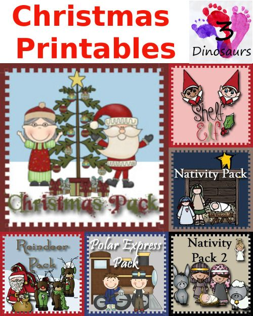 Round up of Christmas Printables from 3Dinosaurs.com