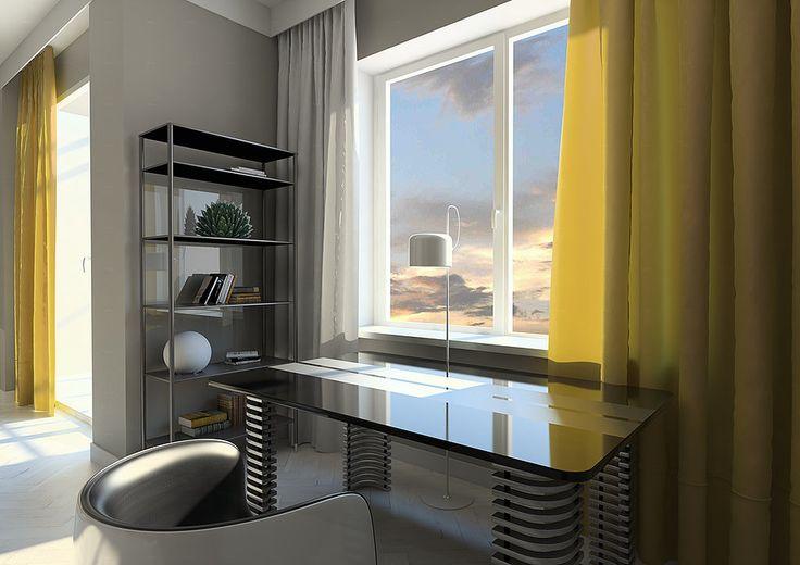 Рабочая зона в спальне в современном стиле