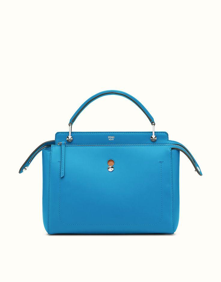 FENDI DOTCOM - light blue leather handbag with beige clutch bag