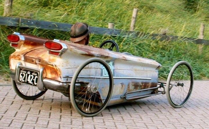 Adult Pedal Car: Rat Rod Pedal Car Made From Oldsmobile