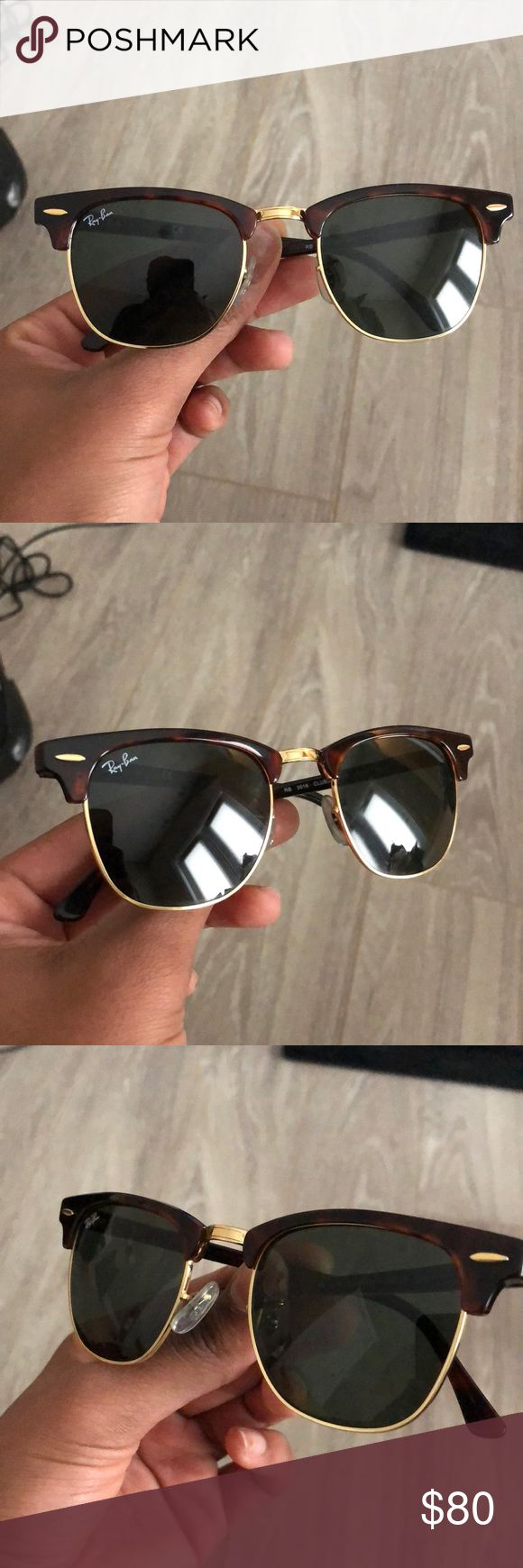 Ray Ban Club Master Tortoise brown ray ban club master. Rarely used, in perfect condition. No scratches or damage. Comes with Ray Ban case and wipe. They're in perfect condition, just want a new pair in another style. Willing to trade for other Ray Bans. Ray-Ban Accessories Sunglasses
