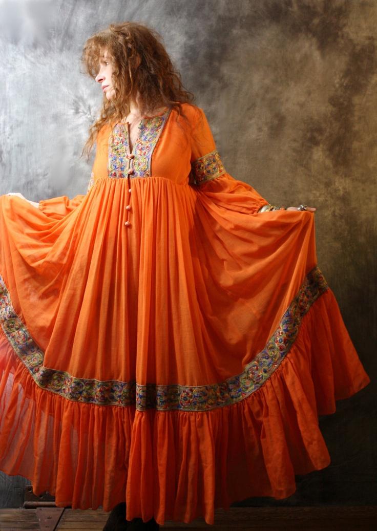 Vintage 1970s Bohemian Hippie Festival Gypsy Dress Amazing Ruffle Sweep Skirt Embroidered Trim. $110.00, via Etsy.