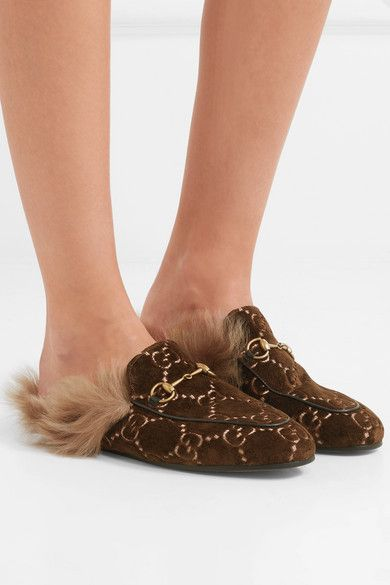 aed1706cbb0 Gucci - Princetown Horsebit-detailed Shearling-lined Velvet-jacquard  Slippers - Brown