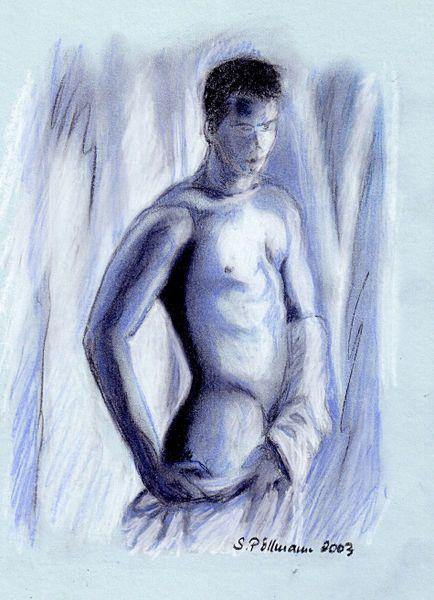'Männerakt in blau' von Susanne Edele bei artflakes.com als Poster oder Kunstdruck $16.63
