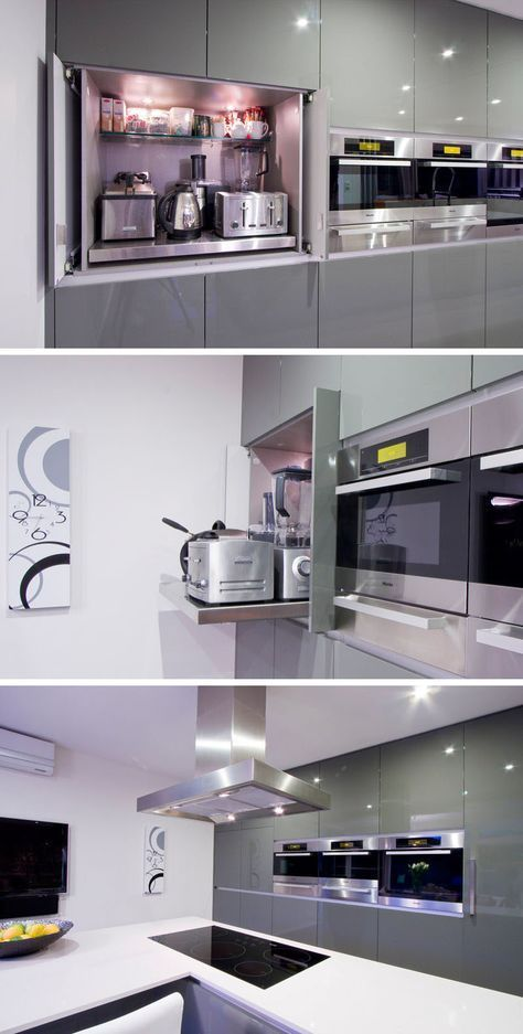 Kitchen Design Idea - Store Your Kitchen Appliances In A Dedicated Appliance Garage // The main shelf of this appliance garage pulls out to make it easier to access the appliances stored at the back. #HomeAppliancesStore