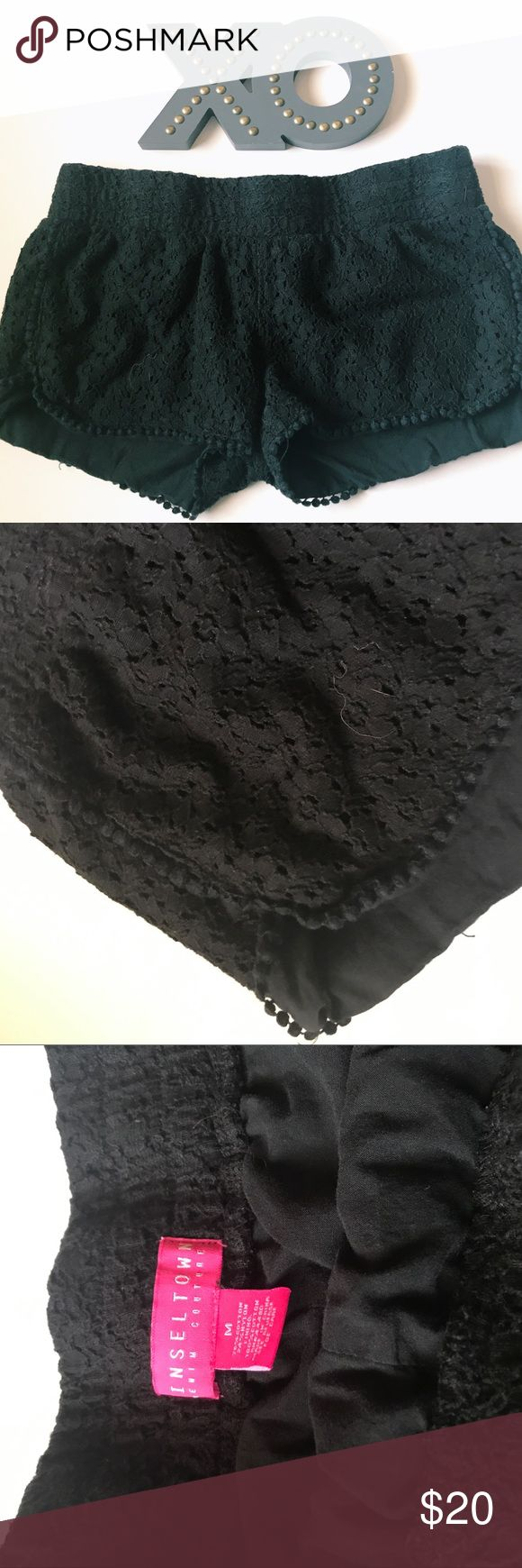 "Black Crochet Shorts Adorable shorts. Crochet black shorts. Comfy. Size medium. By the brand Tinseltown. Waist across 16"". Rise 8"". Inseam 2"". Fully lined.  ::142 Tinseltown Shorts"