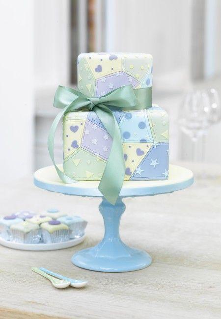 Pretty Patchwork Two Tier Girls Birthday Cake by Zoe Clark Cakes