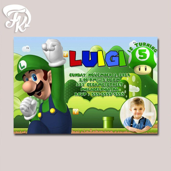 21 best mario kart birthday party ideas images on pinterest super luigi birthday card party digital invitation kid birthday party child for filmwisefo