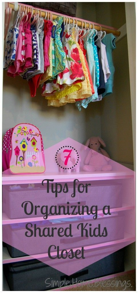 7 Tips for Organizing a Shared Kid's Closet - great ideas for making the most of a small closet for kids rooms.