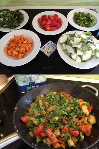 Selvforsyner! årets første selvgroet måltid: gulerødder, peberfrugt, squash, tomat, bladbede, persille. velbekomme!