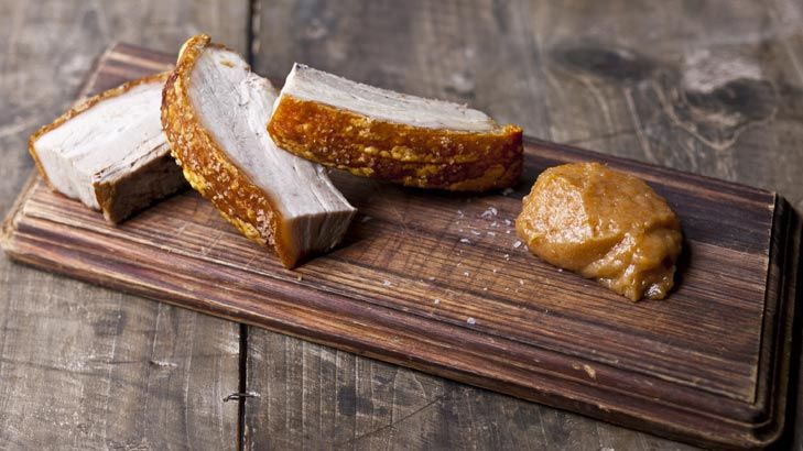 Roast pork belly with a Spanish twist- Frank Camorra serves slices of the juicy meat with a quince aioli.