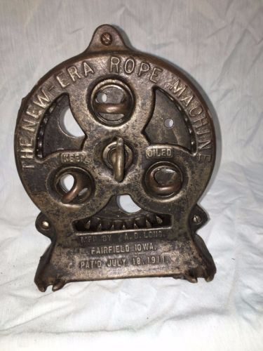 """The New-Era Rope Machine"". Mfd by A.D Long Fairfield IA. Pat'd July 18, 1911. *no crank / handle  Ebay $172 usd"