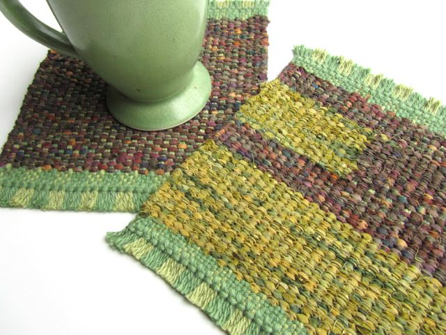 Handwoven Mug Rug Coaster Set By Victoria Gertenbach Find This Pin And More On Peg Loom Weaving