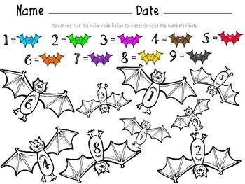 Halloween Math Worksheet for Number recognition 1-9. http://redheadedteacher.blogspot.com/