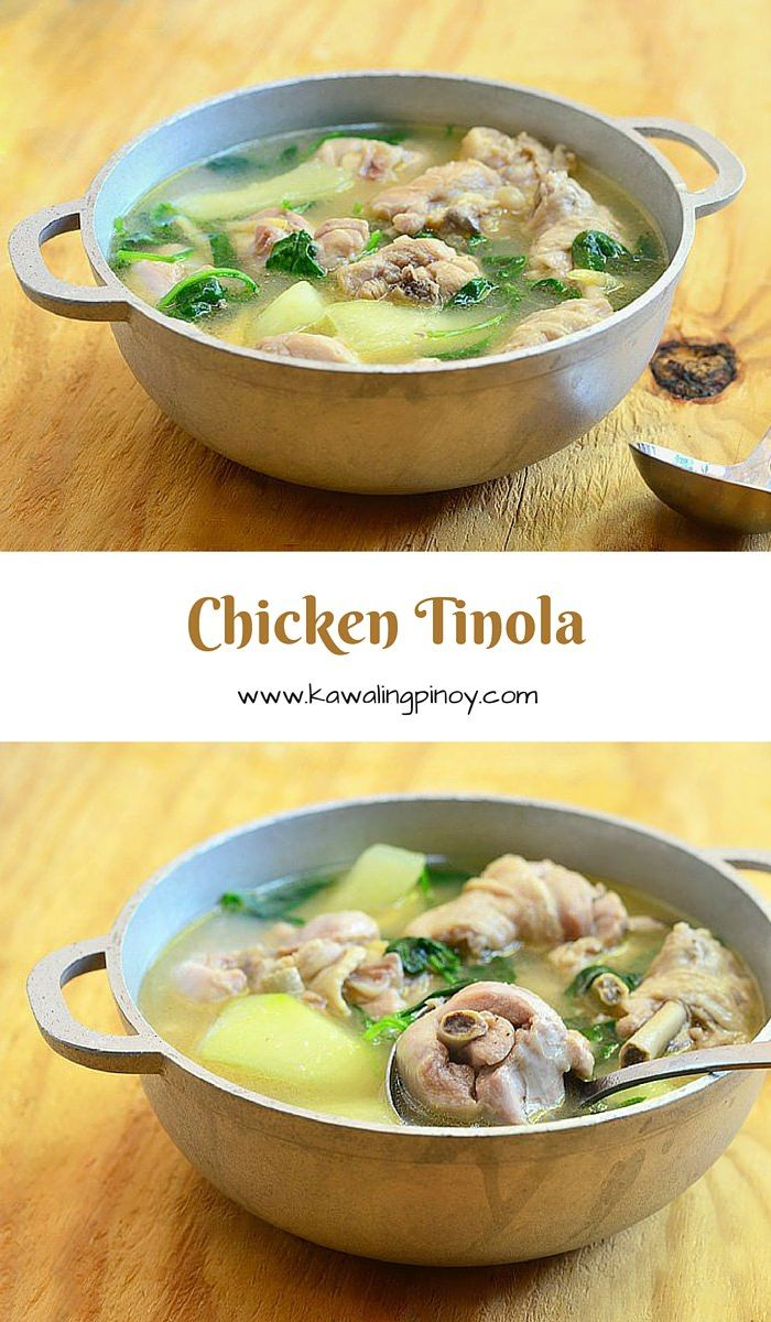 Tinolang Manok (Chicken Tinola) is a Filipino chicken soup made with chicken pieces, papaya, spinach and ginger-infused broth