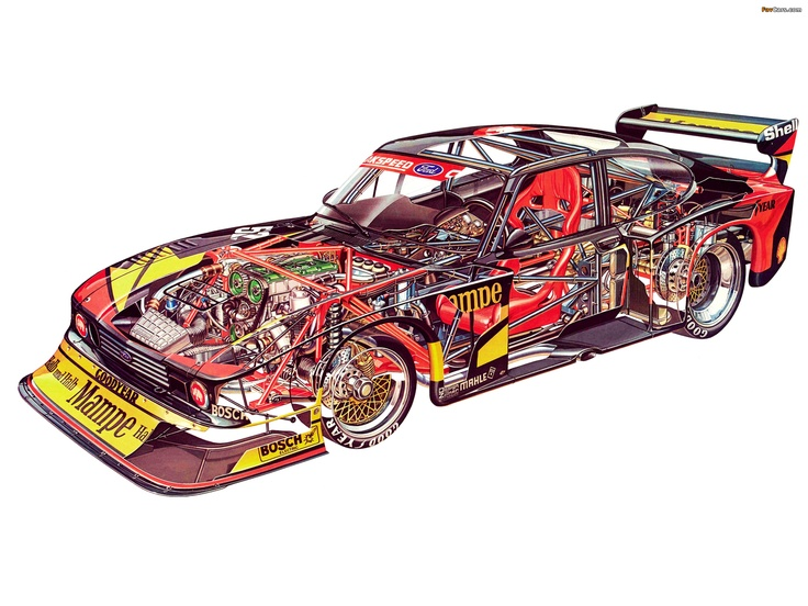Cutaway illustration of a road racing Ford Capri.