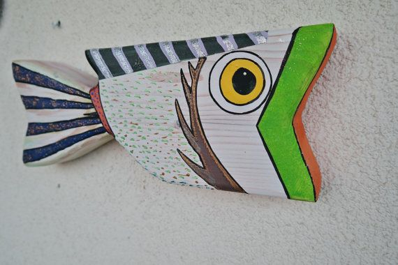 Hand Painted Wooden Fish  Wood art decor  Unıque art by LuckyWoods
