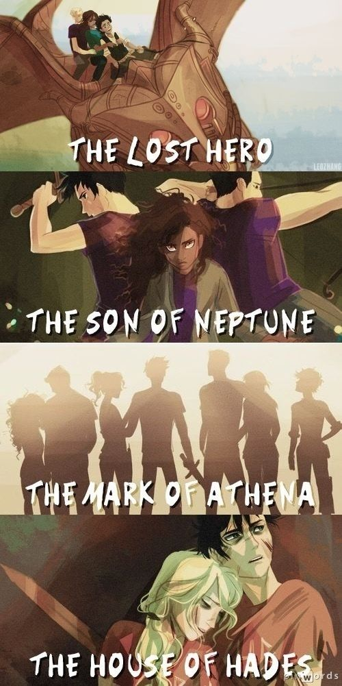 Drawings of The Lost Hero, The Son of Neptune, The Mark of Athena, and the House of Hades.