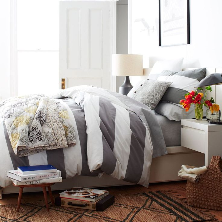 Stripe Quilt Cover + Shams- White/Feather Grey