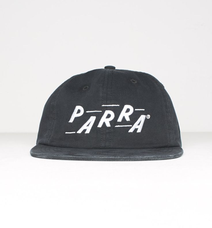 6 panel hat Parra racing - stone washed black