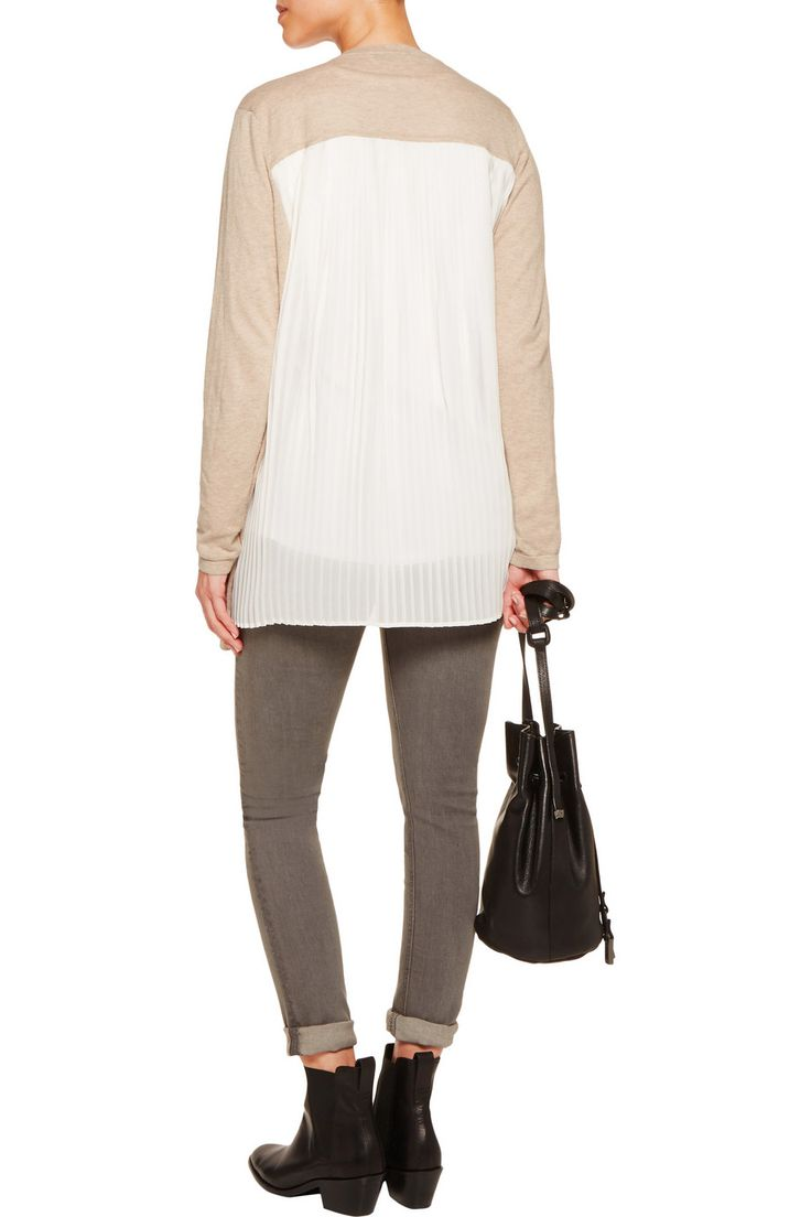 SandroGlasgow crepe-paneled ramie and cotton-blend cardiganfront
