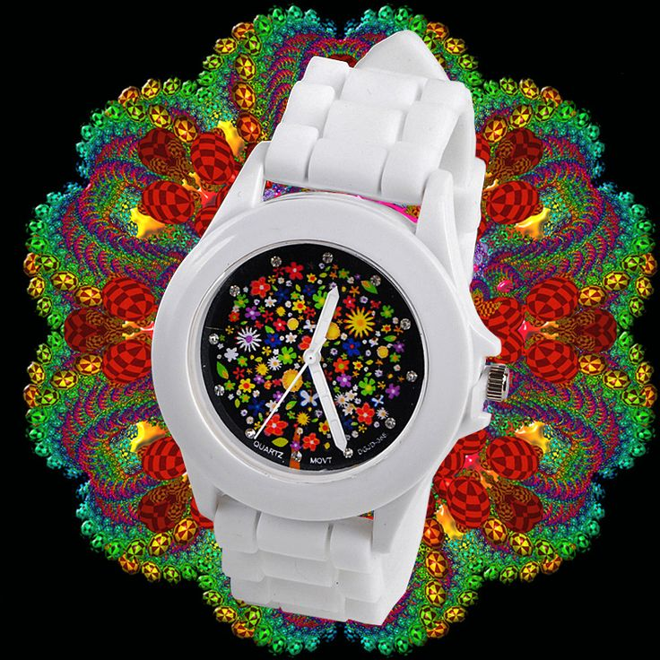 White casual watch for everyday use. Made in silicone, very soft and comfy. Flower decoration in the center of the case, kaleidoscope style.