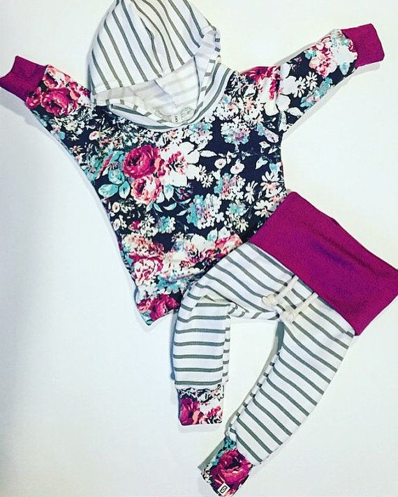 Baby girl / baby clothes / floral and stripes / by BornApparel