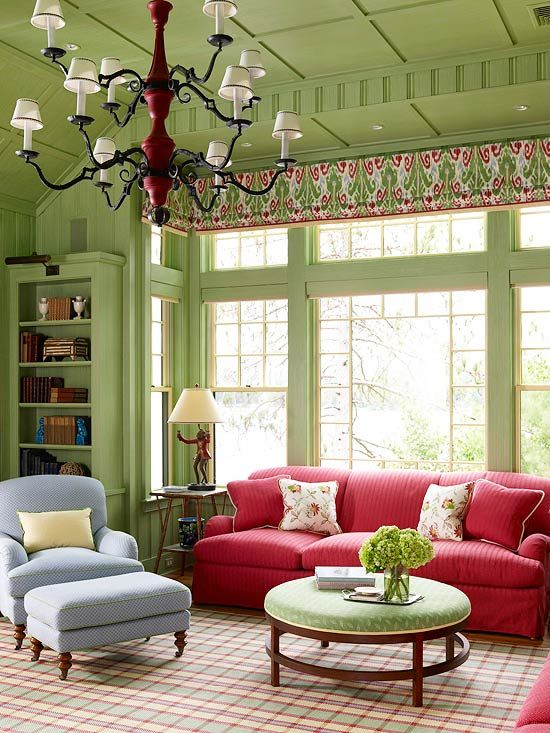 Love this room!  Paint the Ceiling        To create a sense of intimacy in a large room, paint the walls, ceilings, and trim the same color, A warm shade of pea green strikes a traditional note in this elegant living room and references the home's natural surroundings. Floor-to-ceiling windows bring in abundant sunlight, which helps keep the look bright and crisp.