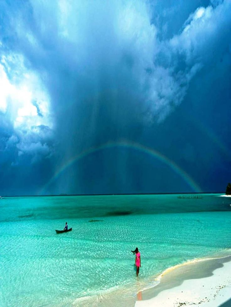 rainbow after the rain, green zone of the Palawan Islands, Onuk island, Balabac Palawan, Philippines