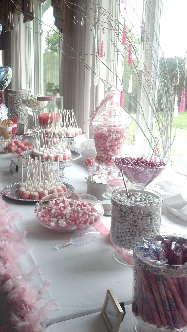 Pink and white candy buffet. Rock candy sparkling weeping CANDY TREE  & Custom MARSHMALLOW POPS cover in chocolate!