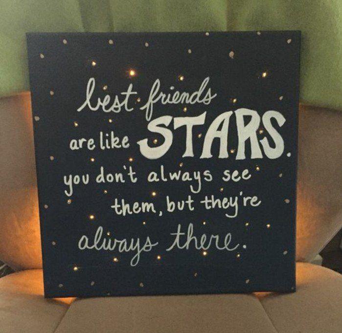 tableau noir avec une citation sir l amitié, cadeau a fabriquer pour sa meilleur amie