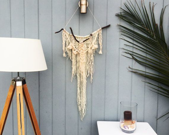 Tribal inspired macramé wall hanging artwork cream by In2twine